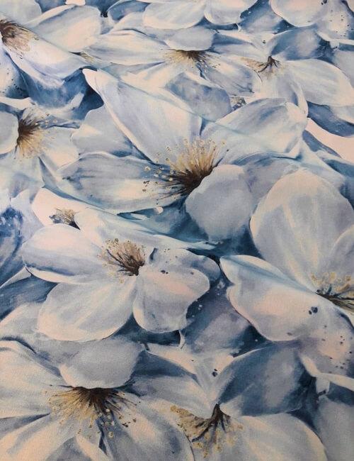 Crepe de chine seta 100% fiori sul celeste