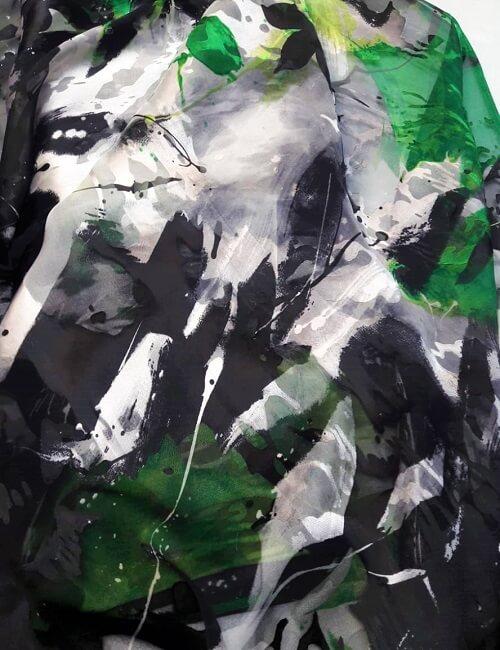Devorè fantasia nero grigio e verde