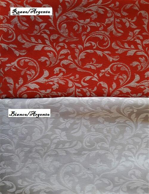 Damasco da tappezzeria tovagiato alt. 280 rosso argento grigio argento