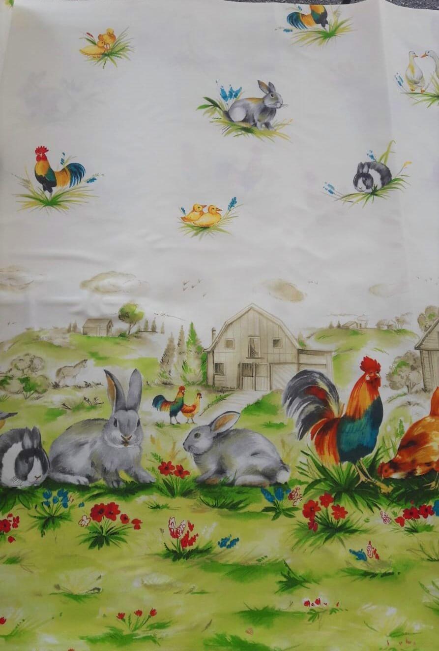 tovaglia a metro disegno con coniglio gallo fattoria