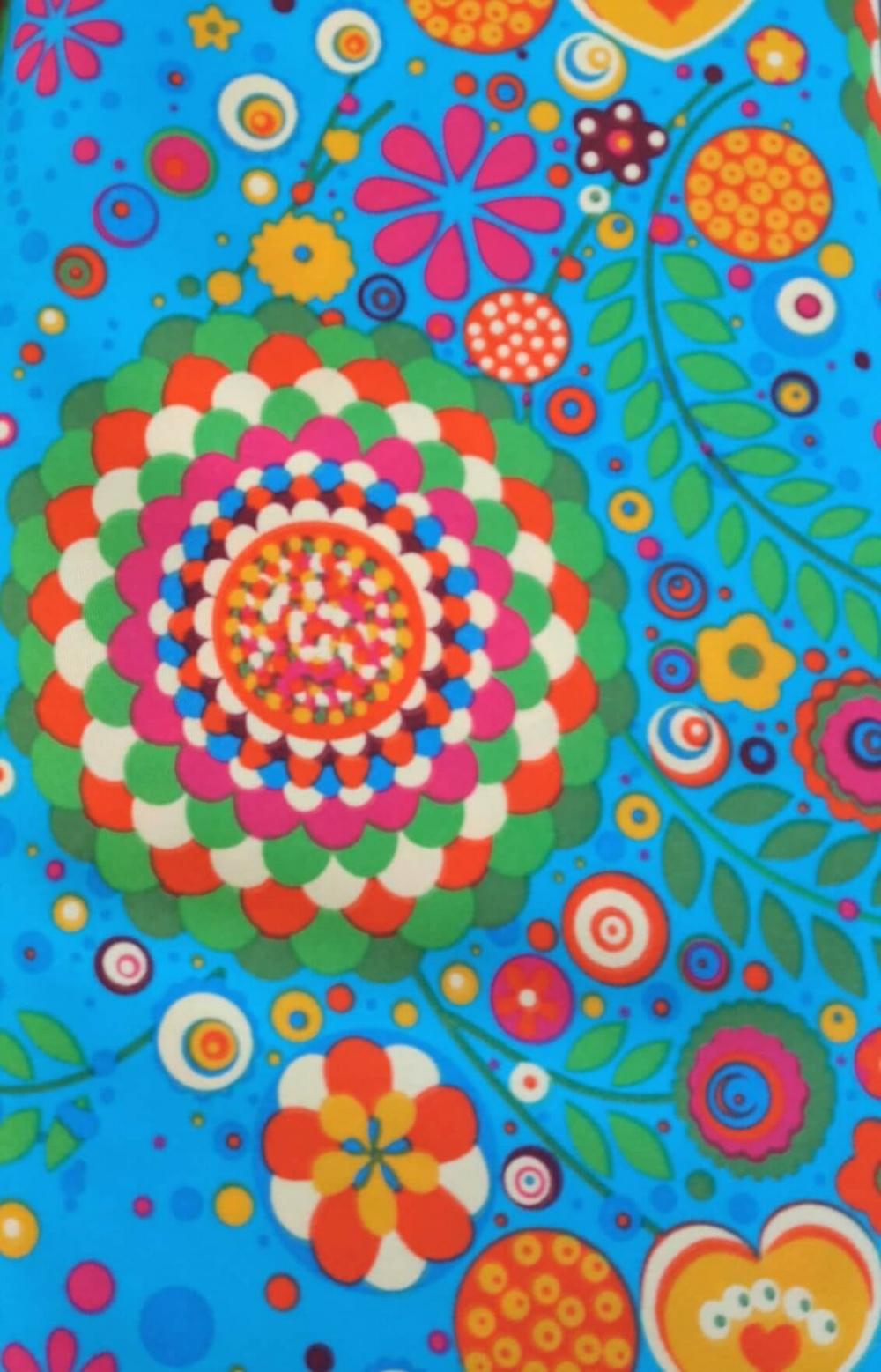 tessuto fantasia fiore turchese