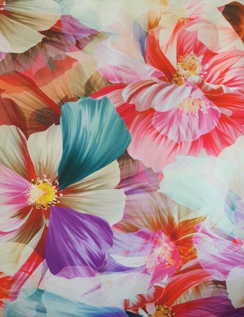 mikado fantasia fiori grandi sul fuxia